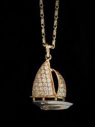 Pave Diamond Sailboat in 14k