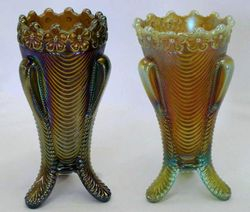 Daisy and Drape vases in purple and aqua butterscotch