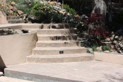 Concrete steps in a Seamless stamp finish & low voltage lighting
