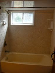 After:Travertine Diamond walls/almond liner
