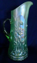 Oriental Poppy tankard water pitcher, ice green, ribbed interior