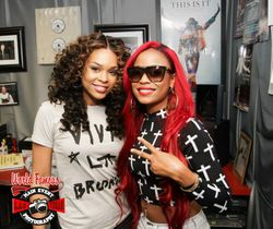 Demetria McKinney & Leena Star at the 'Power 88- Morning Mayhem Show' on August 28, 2013 in Vegas.