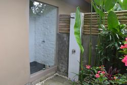 Enchanting indoor and outdoor shower with garden area