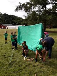 Pitching tents at Escapade