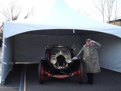 The Original Chitty Chitty Bang Bang and its owner Pierre Picton, stunt double to Dick van Dyke in our 6x6m Oriental Marquee.