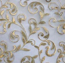 Gold Metallic Floral Organza Sheer  Table Runner