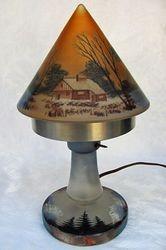 Enameled 2 piece boudoir lamp, European