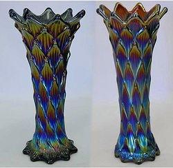 """Lined Lattice, 8"""" & 9"""" vases, purple"""