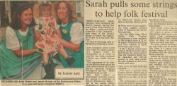 Sarah pulls some strings to help folk festival