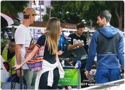 Tomas Berdych, wife Ester greet Novak Djokovic