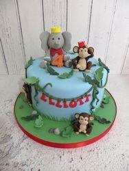 Elephant and Monkey themed Birthday Cake