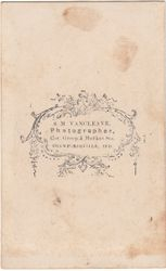 S. M. Vancleave, photographer of Crawfordsville, IN - back