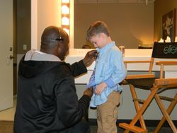 Riley getting mic'd up