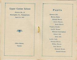 Upper Corner Class List 1931