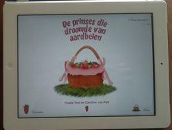 de app van het boek: 'De prinses die droomde van aardbeien'.
