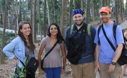 Elenora Neugebauer, Silvana Sita, Jeffrey Peterson, and JB Leca: Four big monkeys on a break (Ubud, Bali, June 2016)