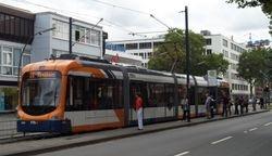 Variobahn tram stopping on Poststrasse