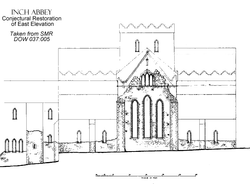 Inch Abbey Elevation Drawing, Strangford, County Down
