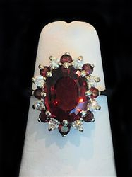 14k Garnet Ring with Halo