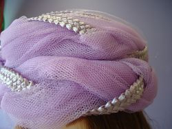 Vintage Lavender Pill Box Style with netting Close Up