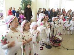 Trikala, Greece , lttle girls on the traditional fest of Lazarines