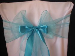 Turquoise blue thin with ribbon.