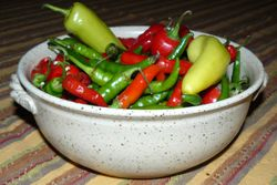 Hot Peppers in Serving Bowl