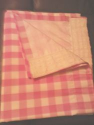 Pink and White Gingham Pencil Pleat