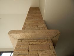 Buff strip stone Fireplace near Boulder Colorado