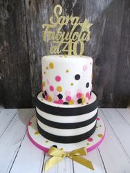 40th Birthday black, gold and pink cake