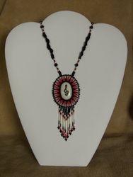 Bead Embroidered Polished Moose Antler Cabochon Pendant