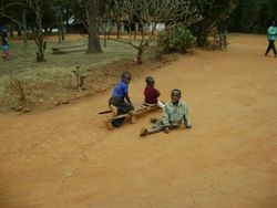 Children playing in Pommern with a home made wheelbarrow