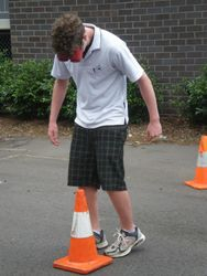 Student trying to navigate the walking track