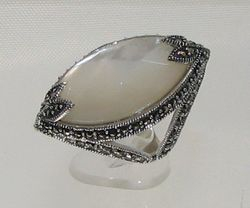 Mother Pearl and Marcasite Ring