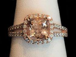 Morganite in 14k rose gold with diamonds