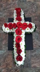 Red and White Funeral Cross