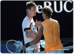 Handshake Tomas Berdych and Rafael Nadal