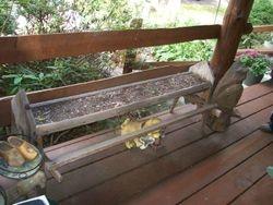 antique, wooden chicken feeder, trough