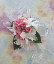 Pink Roses and White Orchids