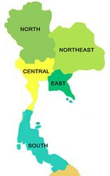 Map of regions of Thailand