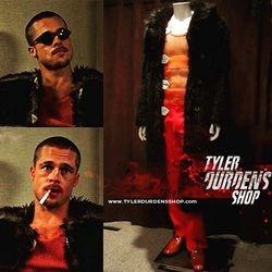 Fight Club Fur Coat, orange tank and pants