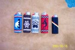 Beaded Lighter Covers with leather bottoms - $75.00
