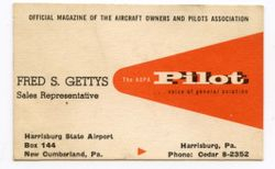 Fred Getty's business card for the AOPA Pilot magazine.