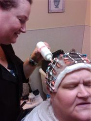 Jessie at work on a perm