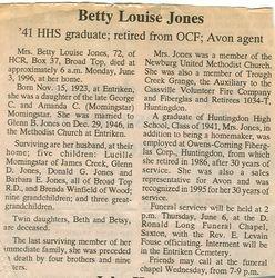 Jones, Betty Louise Morningstar 1996