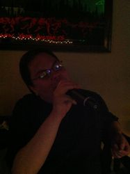 Our friend Enrique gracing us with a song at 502 Bar Lounge's Social Saturday Karaoke Night.