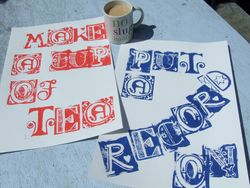 Two part poster set, 'make a cup of tea' and 'put a record on'