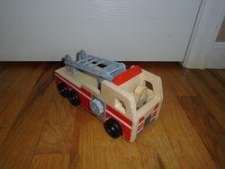Melissa & Doug Wooden Fire Truck With Firefighter Figure - $9