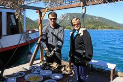 Oyster shucking in Ston Croatia