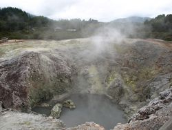 Steaming, bubbling crater